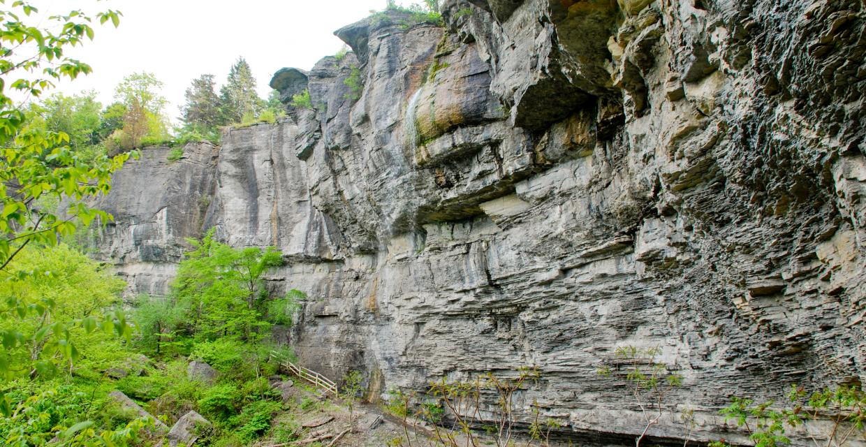 Waterfall and Cliffs along Indian Ladders Trail - Thacher State Park - Photo credit: Jeremy Apgar