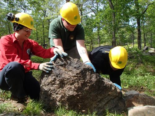 The Megalithic Trail Crew working on the Appalachian Trail at Bear Mountain. Photo by Caitlyn Ball.