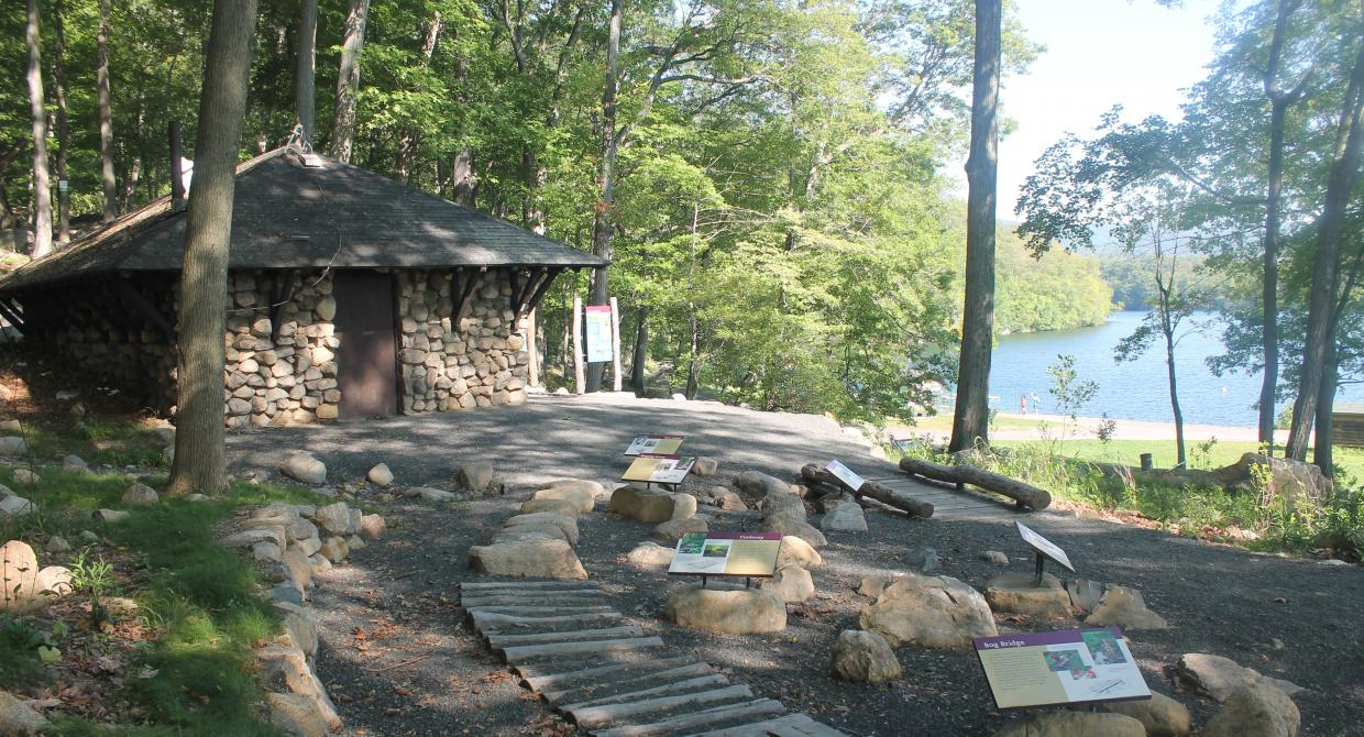 Spider Hill House at the Trails For People Exhibit on the Appalachian Trail at Bear Mountain. Photo by Amber Ray.